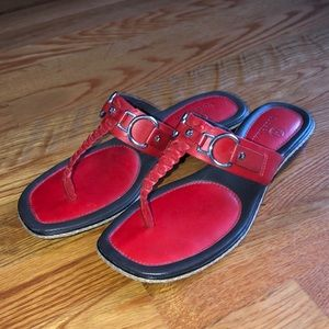 Cole Haan Red Leather Sandal